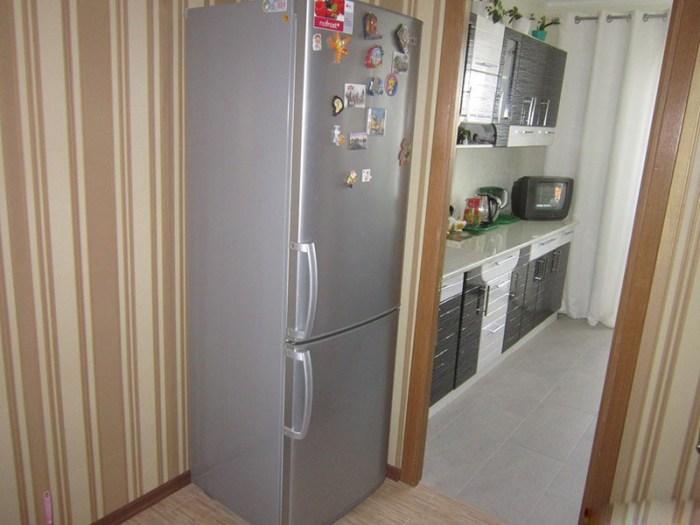 Большой холодильник в коридоре перед входом на кухню