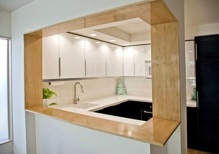 Стена из гипсокартона с проемом между кухней и гостиной