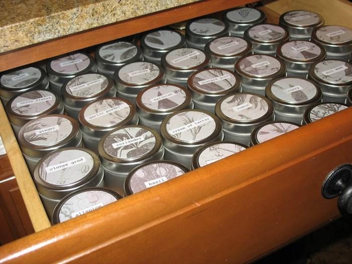 Выдвижной ящик полный подписанных баночек со специями