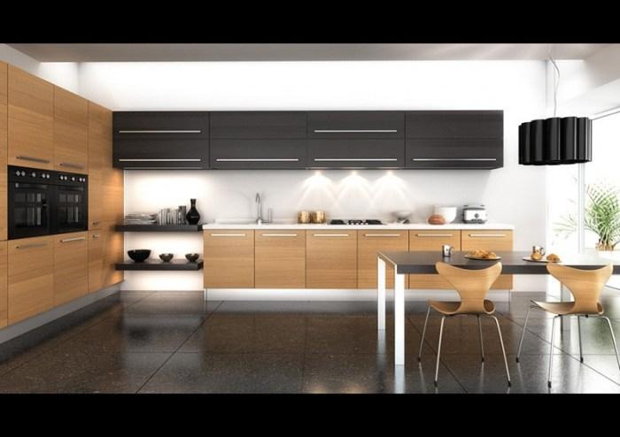 Сочетание на кухне черный и деревянных фасадов с белыми элементами