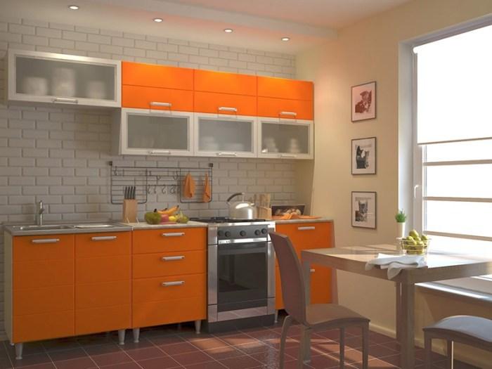 Матовые оранжевые фасады в стиле хайтек