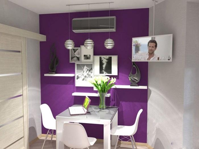 Яркая фиолетовая стена около обеденной зоны