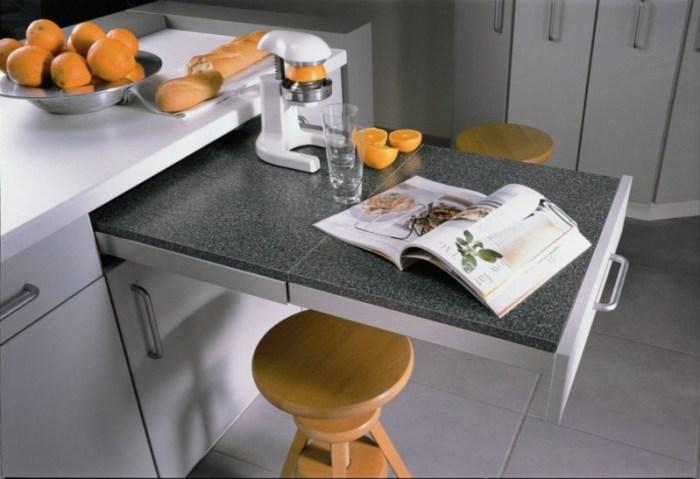 Выдвижная столешница из кухонного гарнитура для обедов