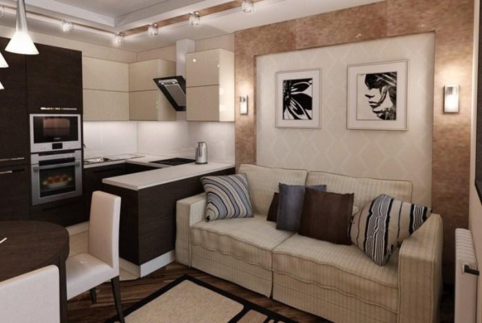 Два бра и картины на стене позади дивана