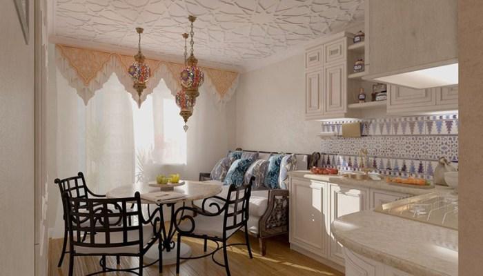 Диванчик с ажурными подлокотниками в восточном интерьере кухни