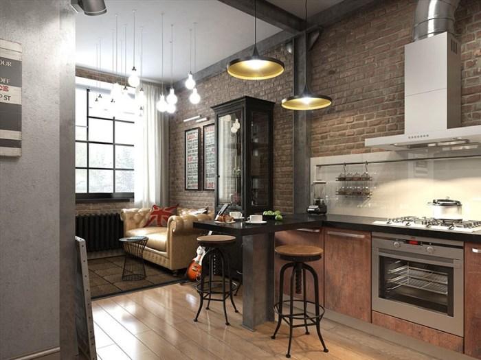 Помещение в стиле лофт с кожаным бежевым диваном у окна
