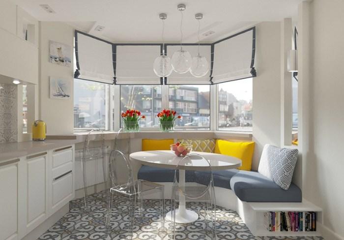 С-образный диван-подиум в круглом эркере с барными стульями