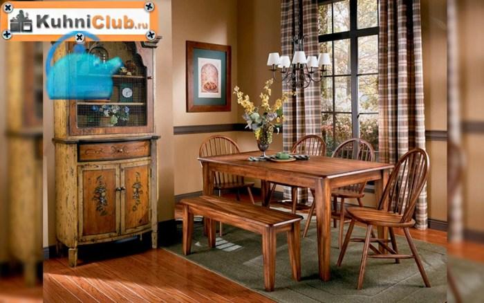 Деревянная-скамья-в-кухне-стиля-кантри