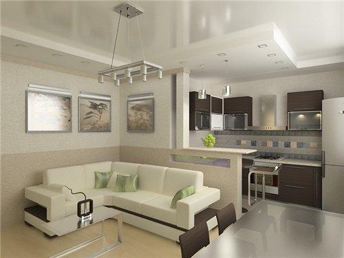 Тонкости дизайна зала, совмещенного с кухней (фото и видео)