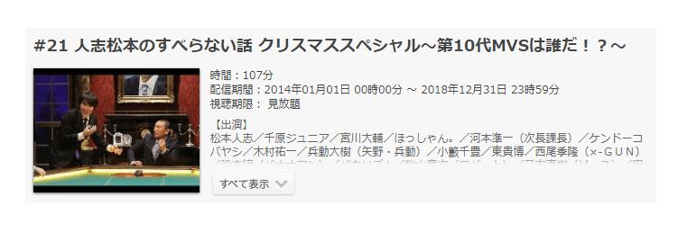 「人志松本のすべらない話 クリスマススペシャル~第10代MVSは誰だ!?~」の動画