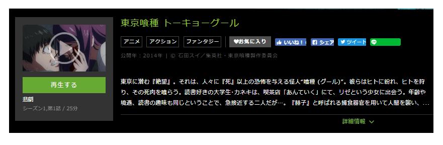 huluで配信されているアニメ「東京喰種トーキョーグール」シリーズの動画