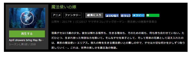 huluで配信されているアニメ「魔法使いの嫁」