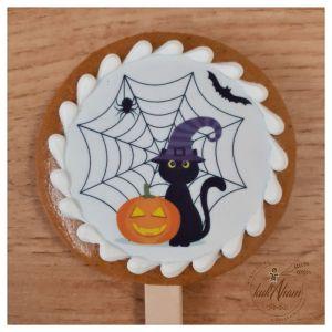 Halloween mačka medovník na paličke