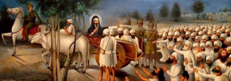 17th January 1872: On His departure from Sri Bhaini Sahib, bidding farewell to his countrymen. Satguru Ram Singh Ji is seen in a bullock cart having covered himself with Mata Karmo's black blanket and consoling his perturbed sangat.