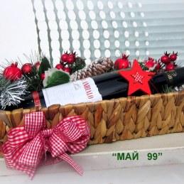 Подарък бутилка вино за Коледа