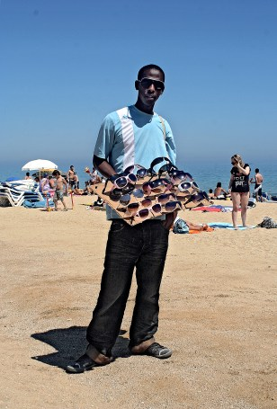 Senegalese seller in Barcelona 2010.