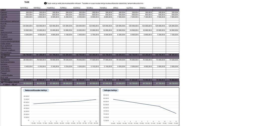 Excel budjetti tase nettovarallisuus omaisuus velat