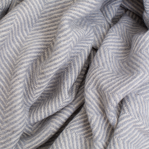 Light grey and white color plaid herringbone pattern, 100% cotton.