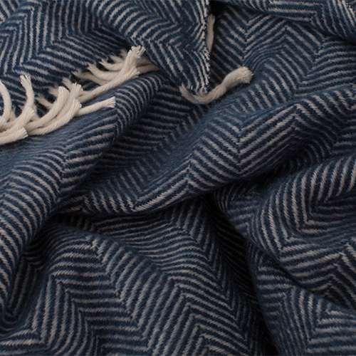Navy blue and white color plaid herringbone pattern, 100% cotton.
