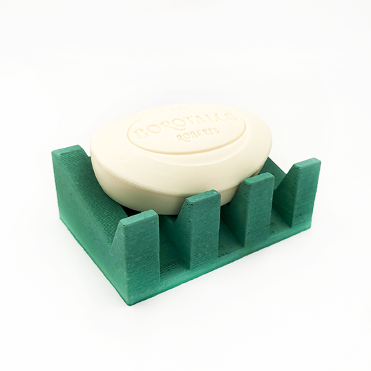Soap dish MARSEILLE Av. Du Prado green emeraude color, rectangle base and drain for water, handmade in Berlin with porcelain clay.