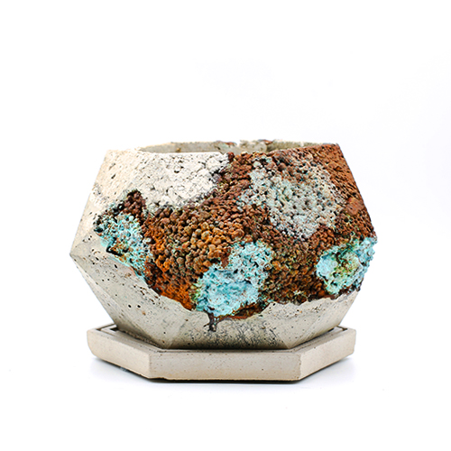 Planter Pot London Back Alley, white, grey, terracotta and turquoise, oxydation effect handmade in Berlin.