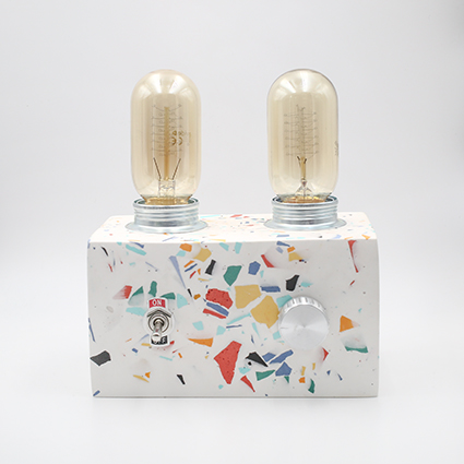 Retro Lamp Terrazzo, handmade in Berlin with white porcelain clay.