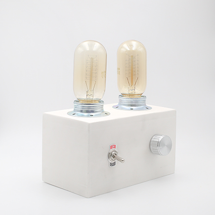 Retro Lamp Terrazzo, white with two vintages bulbs handmade in Berlin with white porcelain clay.