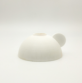 Minimalist white Stick light Candle holder PERUGIA Viale Centova, hemisphere shape and small grip in the side.