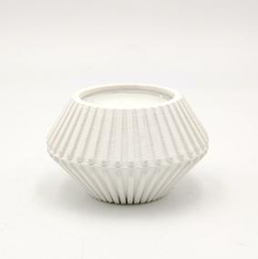 Minimalist design Tea light Candle holder TREVI Via Aldo Moro, hexagonal shape and white color.