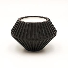 Minimalist design Tea light Candle holder TREVI Via del Vivaio, hexagonal shape and black color.