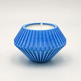 Minimalist design Tea light Candle holder TREVI Via Flaminia, hexagonal shape and white color.