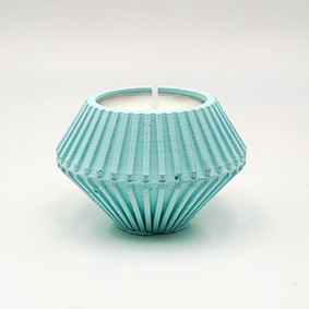 Minimalist design Tea light Candle holder TREVI Via Faustana, hexagonal shape and turquoise color.