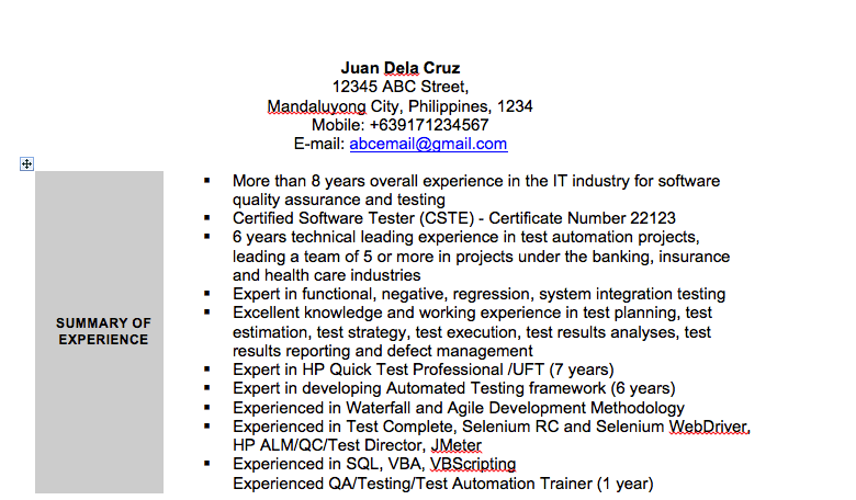 How I Got a Full-time Job in Canada - Old Resume