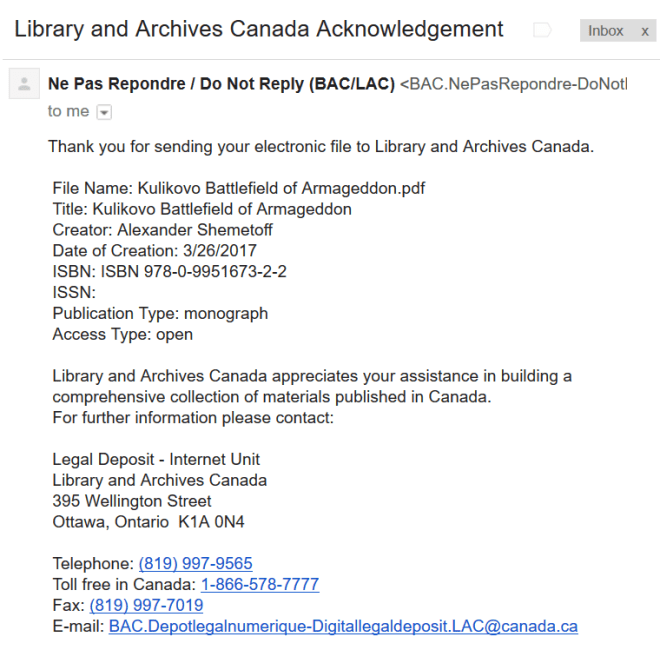 Library and Archives Canada Acknowledgement