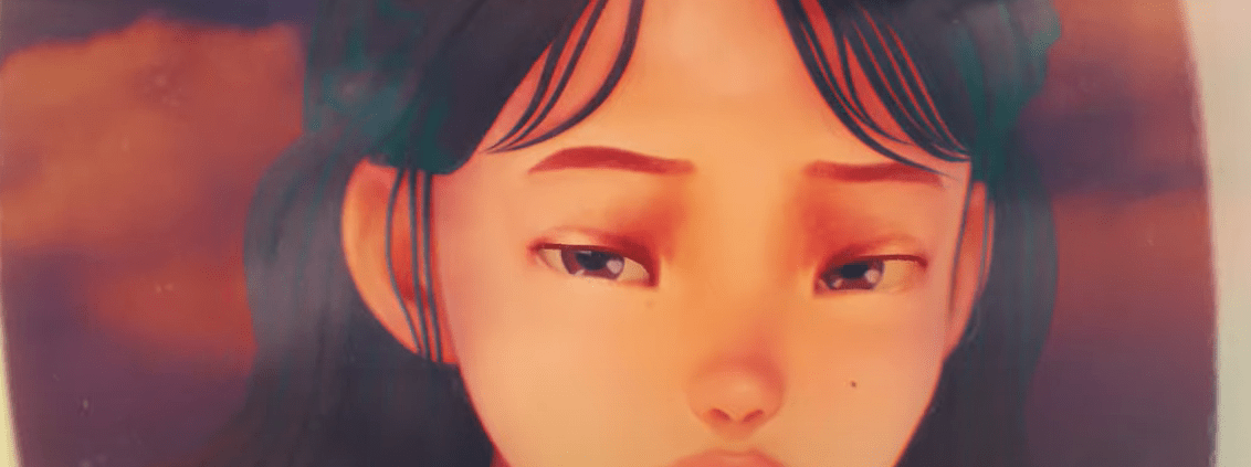 """Animated image of IU looking out a plane window in the music video of """"eight"""" by IU and BTS's Suga."""