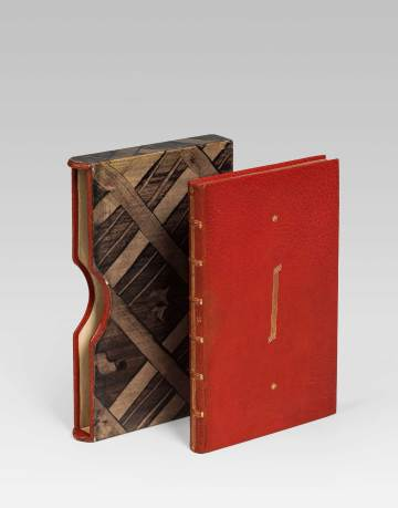 Josef Hoffmann, Bucheinband mit Originalschuber, Ausführung: Wiener Werkstätte, nach 1922. Leder mit Goldprägung, Karton und Tunkpapier. © Sammlung Ernst Ploil