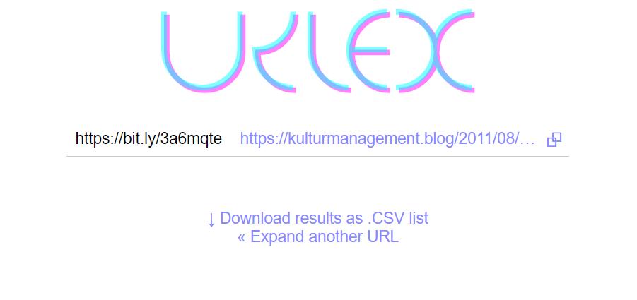 Urlex zeigt mir an, welcher Link sich hinter einer Kurz-URL verbirgt.
