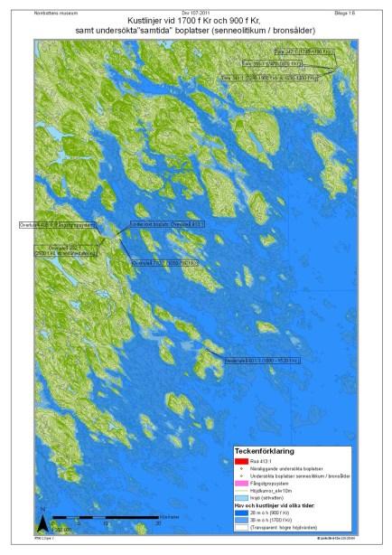 Karta ur rapporten. Kustlinje vid 1700 f Kr. © Lantmäteriet Dnr 2012/0106 och © Norrbottens museum. (Bearbetning av karta Olof Östlund, Norrbottens museum)