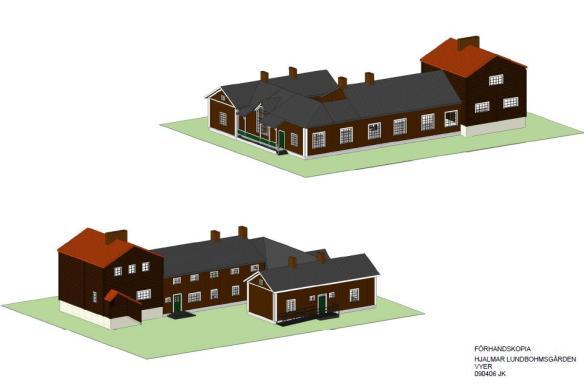 Gården är uppförd av timmer och byggdes i flera etapper, vilket har gett en speciell planlösning.