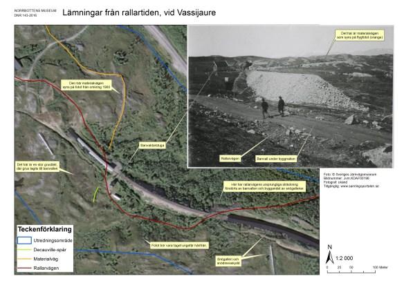 Flygfoto över en del av utredningsområdet, med infälld bild från rallartiden. Flygbilden © Lantmäteriet Medgivande i2014/00695. Infällda fotot © Sveriges Järnvägsmuseum