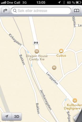 Apples lite detaljerte kart over Holmestrand