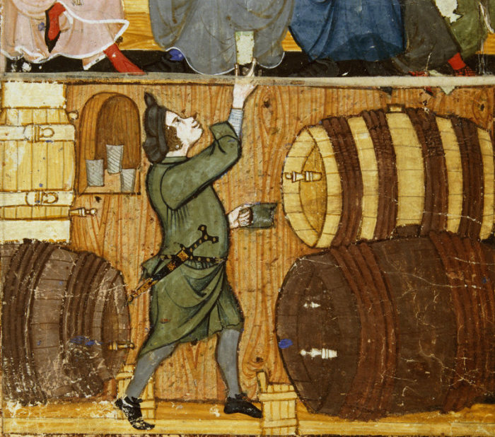 Виночерпий из подвала подает стакан пьющим в комнате наверху. Конец XIV века. | Фото: commons.wikimedia.org.