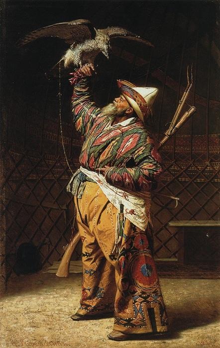 Богатый киргизский охотник с соколом. (1871). Государственная Третьяковская галерея. Автор: Василий Верещагин.