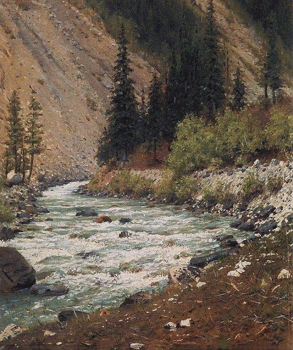 Горный ручей в Кашмире. (1875). Автор: Василий Верещагин.