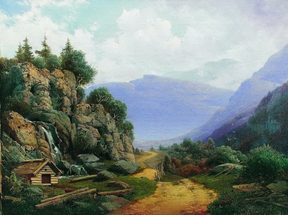 «Горный пейзаж» (1860-е). Автор: А.И. Мещерский.