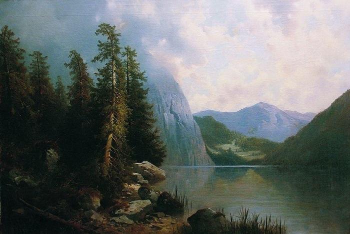 «Озеро в горах» 1860-е. Автор: А.И. Мещерский.