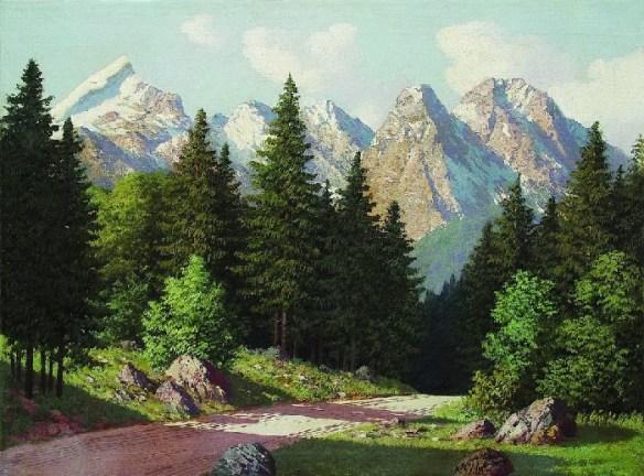 «Горный пейзаж». (1899 год). Частное собрание. Автор: А.И. Мещерский.