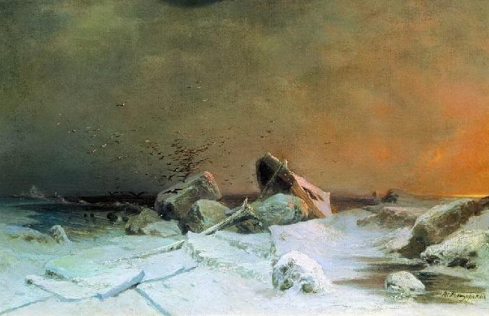 «Ледоход» (1869 год). Государственная Третьяковская галерея. Автор: А.И. Мещерский.