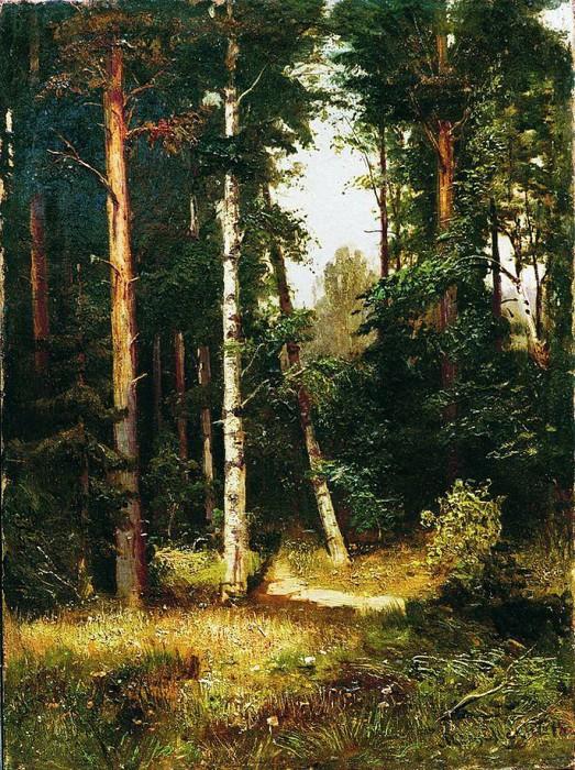 «Тропинка в лесу». (1880-е). Частное собрание. Автор: А.И. Мещерский.