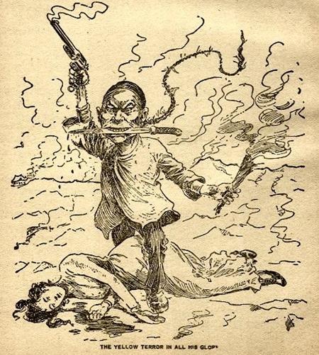 """Karikatur der """"Gelben Gefahr"""" um 1900"""